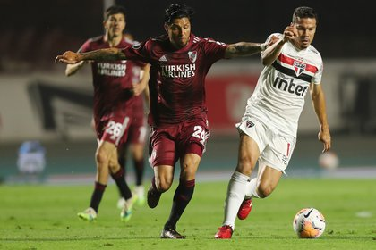 River jugó un gran partido en Brasil e igualó 2-2 ante San Pablo en el reinicio de la Copa Libertadores