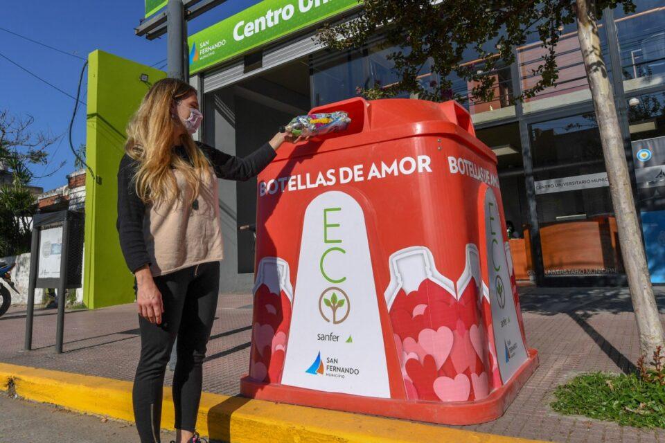 """Continúan las campañas de """"Botellas de Amor"""" en San Fernando para reciclar plásticos de un solo uso"""
