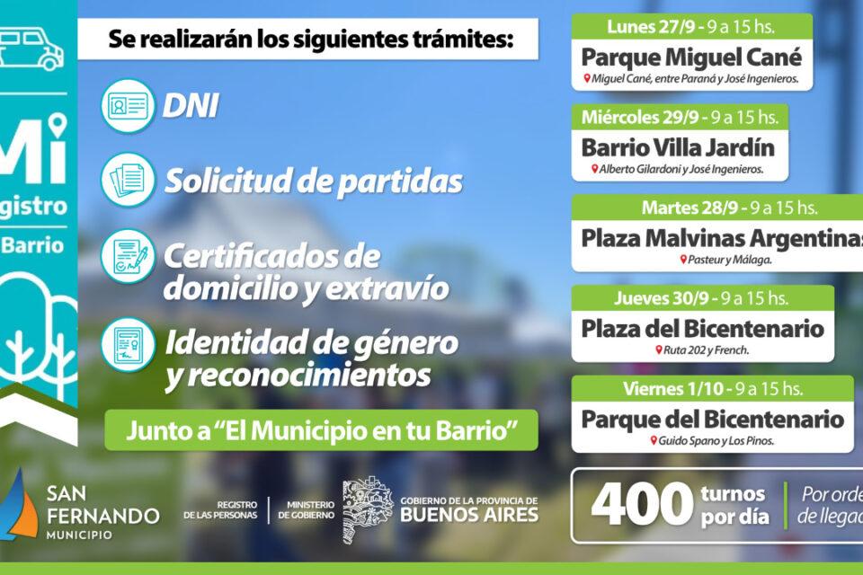 Esta semana habrá operativos de DNI y documentación en distintas plazas de San Fernando